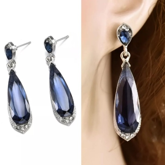 Jewelry - ❤️gorgeous sapphire water drop 925 silver earrings